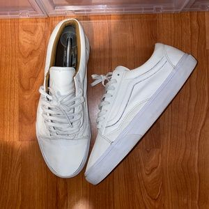Mens All White Leather Vans Size 11